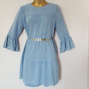 Bell sleeve chambray shift dress small New